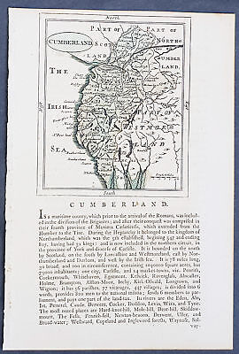 1777 John Seller & Francis Grose Antique Map The County of Cumberland, England