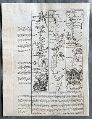 1720 Emmanuel Bowen Antique British Road Map - London, Cobham, Guildford Surrey