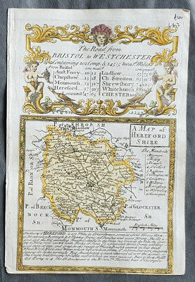 1720 Emmanuel Bowen Antique British Road Map - Herefordshire Bristol to Monmouth