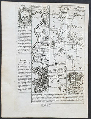 1720 Emmanuel Bowen Antique British Road Map - London to Bagshot in Surrey
