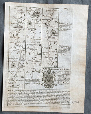 1720 Emmanuel Bowen Antique British Road Map - Cambridge to Kings Lyn in Norfolk
