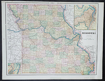 1880 George F Cram Double Sided Antique Map of The States of Missouri & Kansas