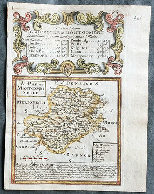 1720 Emmanuel Bowen Antique British Road Map, Montgomery, Gloucester to Hereford