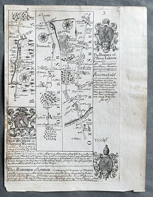 1720 Emmanuel Bowen & Antique British Road Map - High Wickham Oxford Gloucester