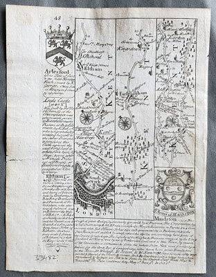 1720 Emmanuel Bowen Antique British Road Map - London to Eltham, Wrothain, Kent