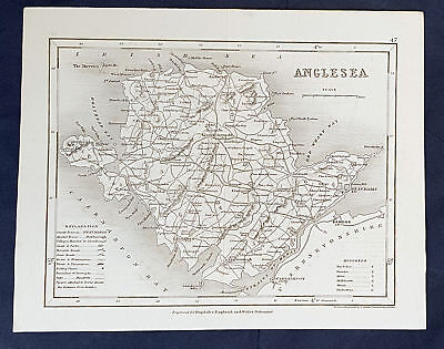 1846 Thomas Dugdale & Joshua Archer Antique Map of The Island of Anglesea, Wales