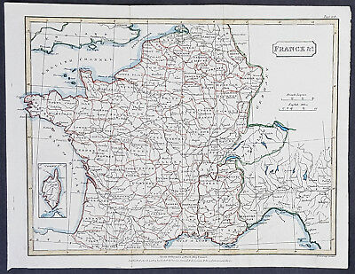 1803 Samuel Neele Antique Map of France, inset map of Corsica