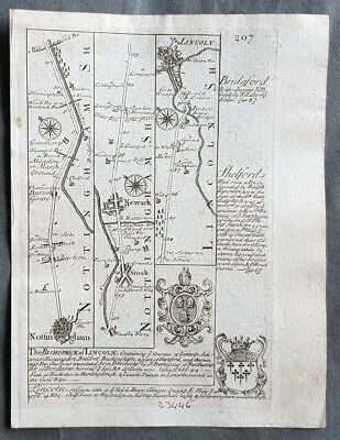 1720 Emmanuel Bowen Antique British Road Map - Nottingham to Lincoln to Grimsby