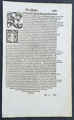 1598 Sebastian Munster Antique Engravings to Text Coat of Arms Kingdom of Sicily