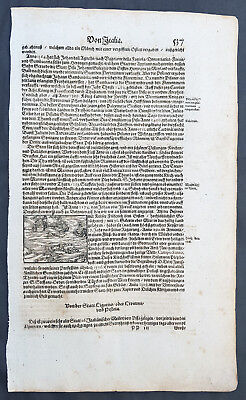 1628 Sebastian Munster Antique Engraving to Text Sea Battle off Coast of Italy