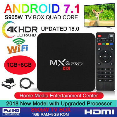 2019 MXQ PRO 4K QuadCore WiFi K 18.0 3D Smart TV Box Media Player Android 7.1 AU