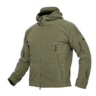 Mens Winter Polar Fleece Hunting Outdoor Jacket Tactical Military Coat Hoodie FL