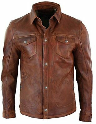 Men's Shirt Jacket Brown Real Soft Genuine Retro Waxed Leather Shirt By Lizaz