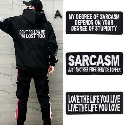 Words Slogan Badge Embroidered Iron on Patches Fabric Sticker Clothes Bags HAT