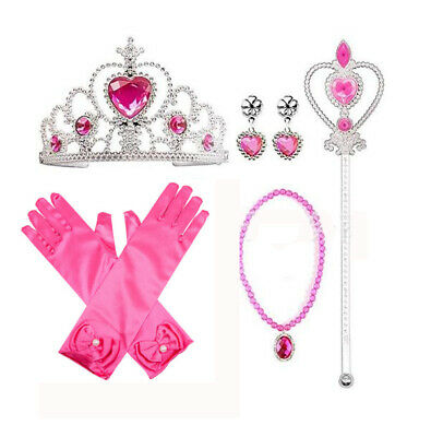 AU Princess Belle Dress up Party Accessory Gift Set Gloves Wand Tiara & Necklace