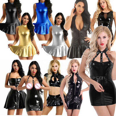 Sexy Women's Wet Look PVC Leather Mini Dress Bodycon Micro Tops Skirt Clubwear