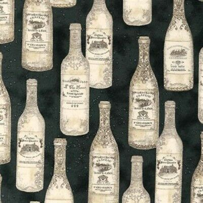 Vineyard Collection Vintage French Wine Bottles Black Cotton Fabric by the Yard