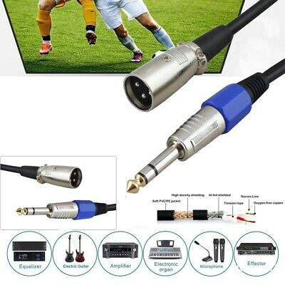 3Pin Male XLR to 6.35mm Stereo TRS Jack Lead Balanced Signal Audio Speaker Cable