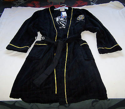 Richmond Tigers AFL Mens Est Black Embroidered Fleece Dressing Gown Robe New