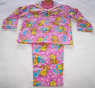 Looney Tunes Tweety Girls Hearts Pink Printed Flannel Pyjama Set Size 4 New