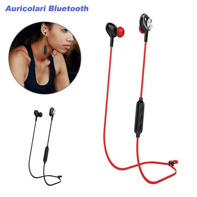 Auricolari Bluetooth Originali Cuffie Wireless Stereo Sport In-Ear Nero e  Rosso 125716d16cbf