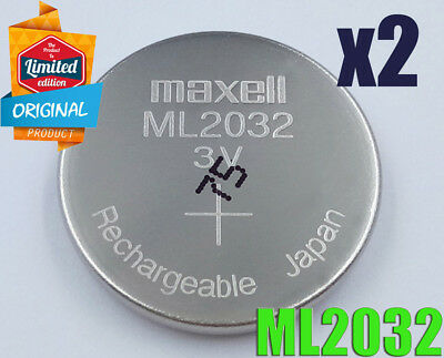 2 pc MAXELL ML2032 ML 2032 3v RECHARGEABLE Li-ion BATTERY MANUFACTURED