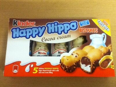 PACK OF 5 KINDER HAPPY HIPPO BISCUITS - 5 x 20.7gram BISCUITS - SHIP WORLDWIDE