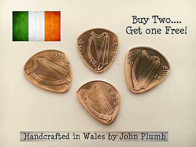 Handcrafted Irish Penny Coin Guitar Pick / Plectrum . Various years available .