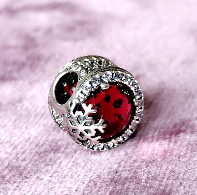 Authentic Pandora Silver Charm Dazzling RED Snowflake  Cerise Crystal 797555