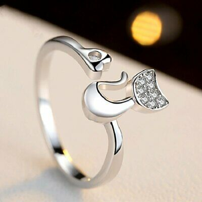 Women Crystal Zircon Cat Animal Rings Open Ring Finger Jewelry Gift Party New