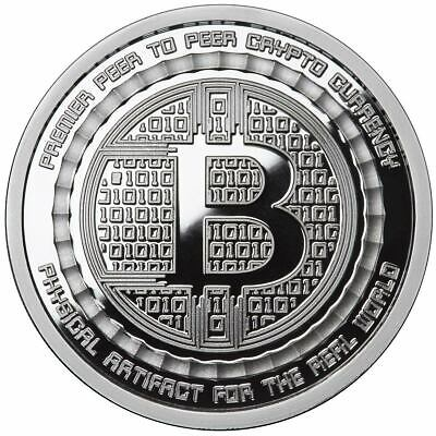 5 Ounce Oz Silver Bitcoin .999 Qr Code Value Bitcoin Conversion Commemorative