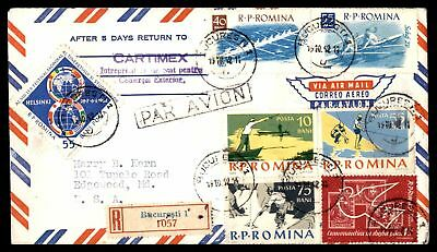 Romina Cartimex Bacuresti October 19 1952 Air Mail To Edgewood Md Usa