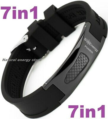 TITANIUM Magnetic Energy Armband Power Bracelet Health Bio 7in1 Bio Black 25681