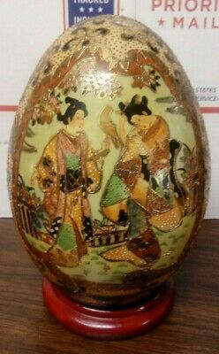 "Large Antique Satsuma Egg 8"" Tall Hand Painted Courting Samurai China Porcelain"