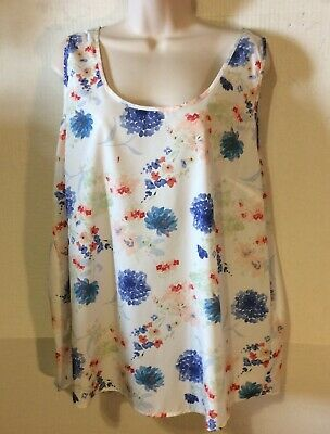 a4ef53d850 Faded Glory Womens Size Xlarge Blouse New With Tag White Multi Floral Print
