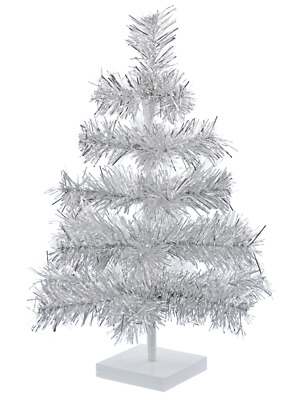 18'' Silver Christmas Tree Silver Feather Tinsel Tree Tabletop Holiday XMASS