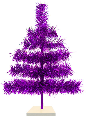 18'' Shiny Purple Christmas Feather Tinsel Tree Tabletop Holiday Tree 1.5FT Tall