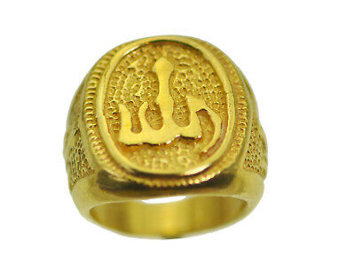 Allah Islamic Muslim Jewelry Gold plated over Real STER Silver Arabic Ring Islam