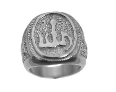 New Allah Islamic Muslim Jewelry Real Sterling Silver 925 Arabic Ring Islam