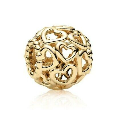 Pandora Open Your Heart 14k Gold Bead Charm 750964 Retired $360