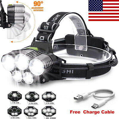 150000LM 5X T6 LED 6-Mode Headlamp Headlight Torch Rechargeable Flashlight USA