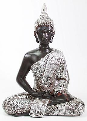 "Feng Shui 11"" Elegant Silver and Black Thai Meditating Buddha Home Decor Statue"