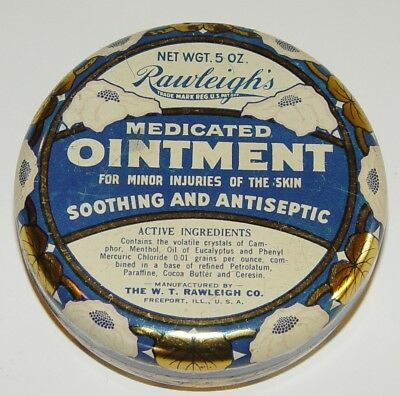 Rawleigh's Medicated Ointment Medicine Drug Store Pharma Antique Advertising Tin