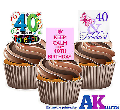 PRECUT Happy 40th Birthday Party Mix 12 Edible Cupcake Toppers Cake Decorations