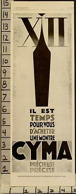 1928 French Art Deco Poster Style Art Cyma Watch Time Clock Wrist Hand Ad22940