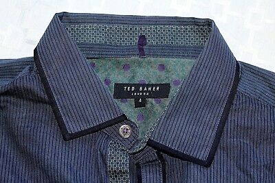 69ffcb54b TED BAKER JEAN Button Front Shirt Black Green Striped Size Large And ...