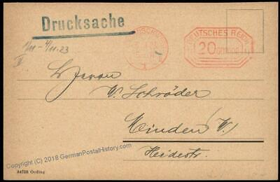 Germany 1923 20 Million RM Nov 3 Braunschweig Ad Inflation Meter Cover 67199