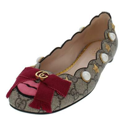 ddab847752e  425 GUCCI SHOES Ballet Flats Suede Leather Bamboo Bow 38.5G Us 8.5 ...