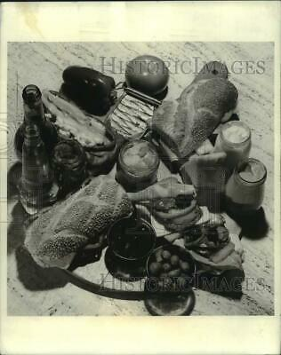 1971 Press Photo Charcuterie Board with Bread, Cheese, Olives and Meat