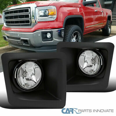 FL7086 For 14 15 GMC Sierra 1500 Fog Lights Clear Lens Bumper Lamps Set NEW